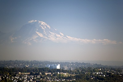 Mount Rainier Hovers Over Seattle